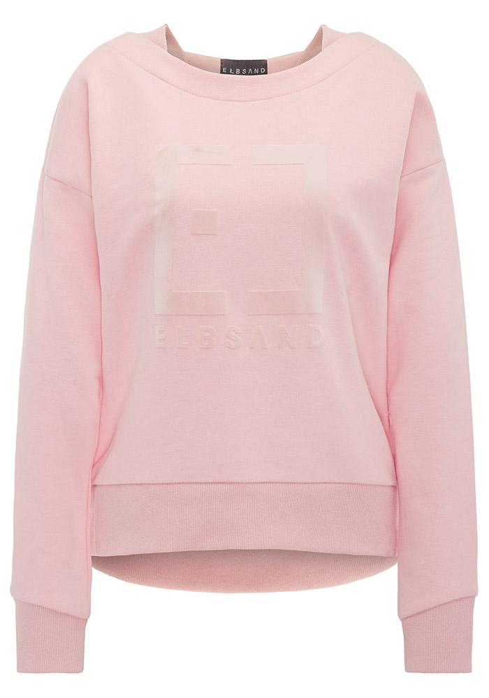 Elbsand FINNIA – lässiges Sweatshirt mit Boatneck in lachs. Großer Logo Flockprint, kastiger Schnitt und angenehm weiche Baumwollmischung.