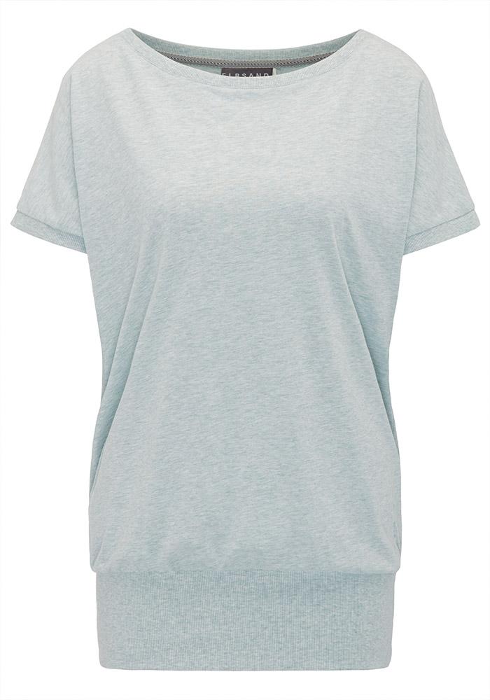 Elbsand DISA – Top in mint mit weitem Rundhals-Ausschnitt. Langer oversized Schnitt mit breitem Rippbund. Angenehmer weicher Melange Baumwoll Jersey.