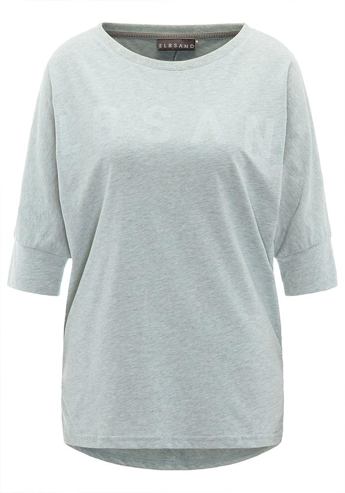 Elbsand IDUNA – T-Shirt mint mit dreiviertel Arm. Großer leicht transparenter Logoprint. Oversize Schnitt, angenehm weiche Baumwollmischung.