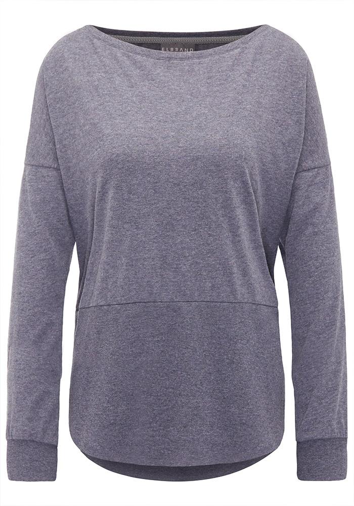 Elbsand TONA – langarm Shirt graublau mit weitem Rundhals-Ausschnitt. Raffinierter oversized Schnitt mit langen Rippbündchen und rund geschnittenem Saum. Angenehm weicher Melange Baumwoll Jersey.
