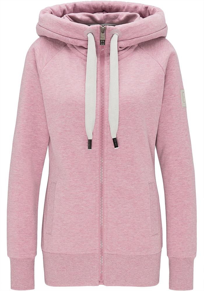 Elbsand KRIA – rosa Kapuzenjacke aus Sweatshirt Material in schmalem Schnitt und schönen Rippdetails in angenehm weicher Baumwolle. Tonaler Print, geprägtes Kunstlederbadge am Arm.
