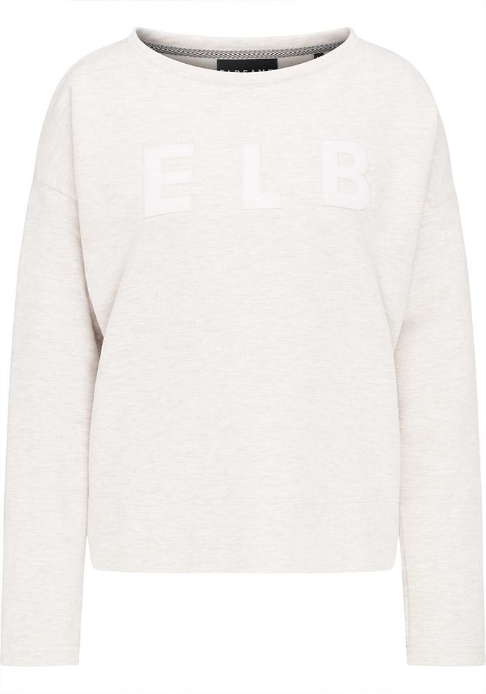 Elbsand ALRUN – Sweatshirt in weiß mit Schlitzen in legerem Schnitt. Überschnittene Schultern, breiter Saum, kuschelig angeraut, aufgestickte Applikation.