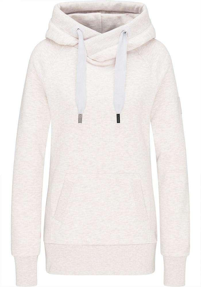 Elbsand HULDA – Kapuzensweatshirt in weiß und schmalem Schnitt. Schöne Rippdetails, Känguru-Tasche und lange Kordeln. Angenehm weiche Baumwolle.