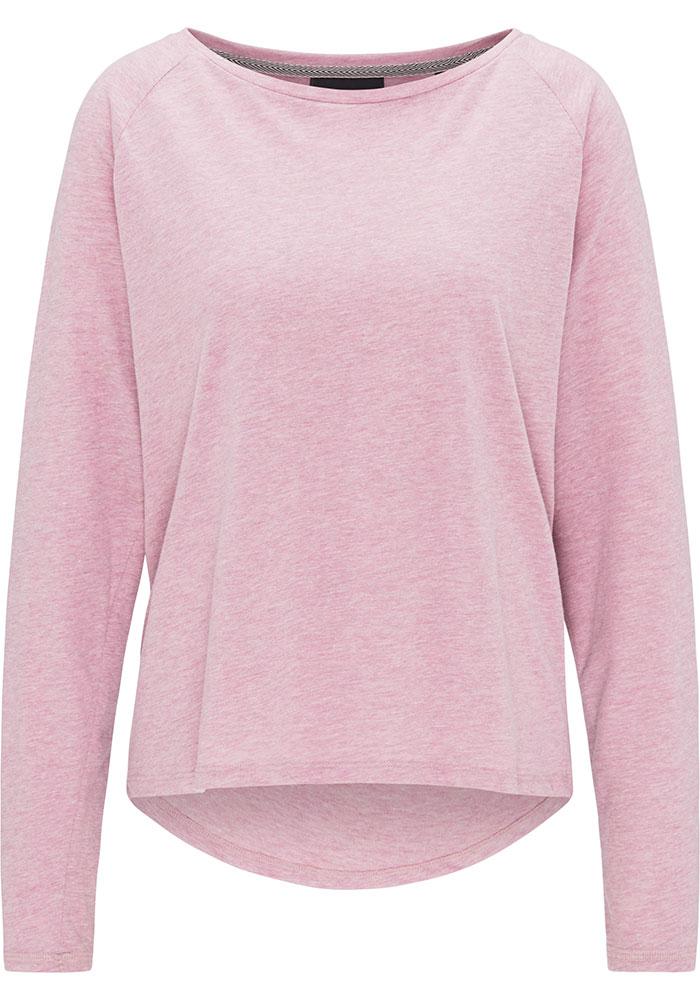 Elbsand TIRA – langarm T-Shirt in rosa, kastiger Schnitt, weiter Ausschnitt, verlängerter Rücken, angesetzter Kragen, Druck auf der Rückseite. Angenehmer weicher Melange Baumwoll Jersey.