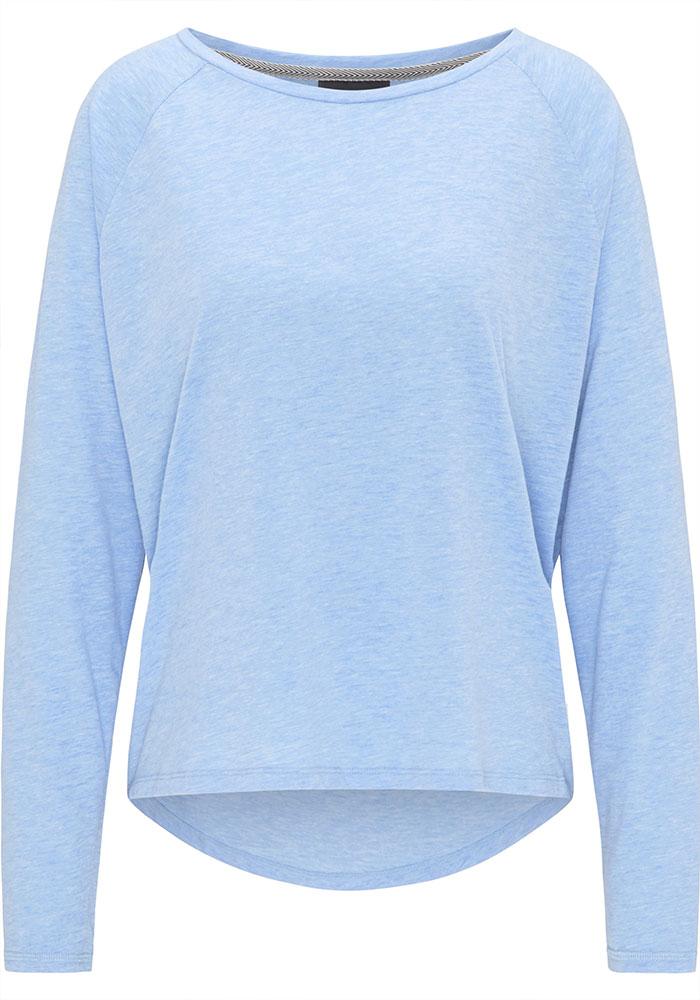 Elbsand TIRA – langarm T-Shirt in hellblau, kastiger Schnitt, weiter Ausschnitt, verlängerter Rücken, angesetzter Kragen, Druck auf der Rückseite. Angenehmer weicher Melange Baumwoll Jersey.