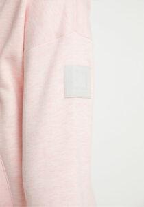 Elbsand ERLA – Sweatjacke in rosé, loose fit, XL-Stehkragen, Tunnelzugband, Flockprint, wärmender Baumwollmix.
