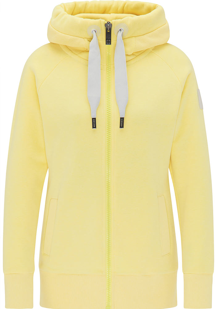 Elbsand KRIA – Kapuzenjacke in gelb aus Sweatshirt Material in schmalen Schnitt und schönen Rippdetails in angenehm weiche Baumwolle. Tonaler Print, geprägtes Kunstlederbadge am Arm.