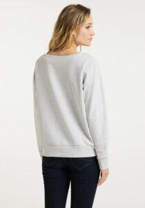 Elbsand FINNIA – lässiges Sweatshirt mit Boatneck in grau melange. Grosser Logo flockprint, kastiger Schnitt und angenehm weiche Baumwolle.