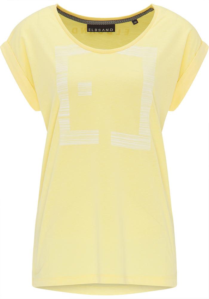 Elbsand LEIKNA – T-Shirt in gelb mit grossem semitransparentem Logoprint. Kastiger, legerer Schnitt, kleiner Armaufschlag, angenehm weiche Baumwollmischung.