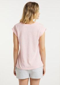 Elbsand LEIKNA – T-Shirt in rosé mit grossem semitransparentem Logoprint. Kastiger, legerer Schnitt, kleiner Armaufschlag, angenehm weiche Baumwollmischung.