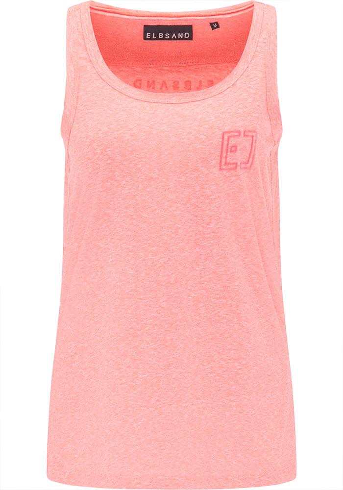 Elbsand LIANA – koralle farbenes Tank Top, lockerer Schnitt mit Rollsäumen, Rippdetails und kleinem Logo flock auf der Brust. Angenehm weiche Baumwollmischung in Mounlineoptik.