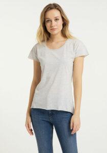 Elbsand RAN – kurzarm T-Shirt in grau melange, lockerer Schnitt mit Rollsäumen und kleinem Logo flock auf der Brust. Angenehm weiche Baumwollmischung.