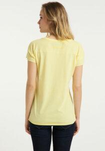 Elbsand RAN – kurzarm T-Shirt in gelb, lockerer Schnitt mit Rollsäumen und kleinem Logo flock auf der Brust. Angenehm weiche Baumwollmischung.