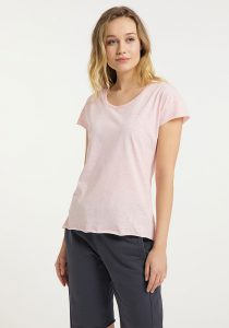 Elbsand RAN – kurzarm T-Shirt in rosé, lockerer Schnitt mit Rollsäumen und kleinem Logo flock auf der Brust. Angenehm weiche Baumwollmischung.